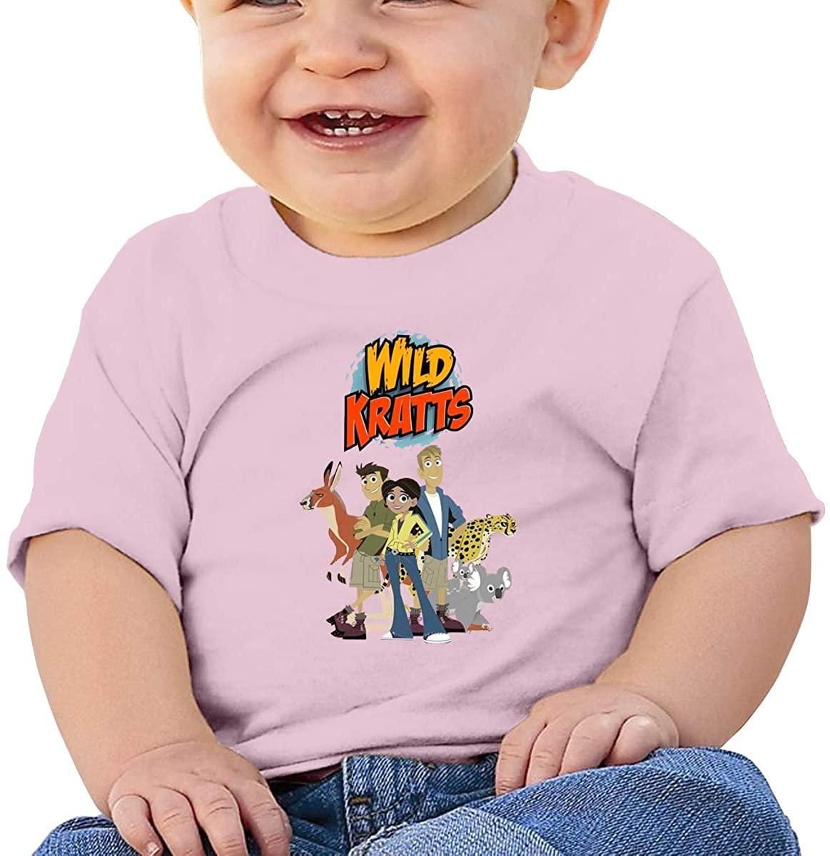 6-24 Months Boy and Girl Baby Short Sleeve T-Shirt Wild Kratts Logo Original Minimalist Style Pink