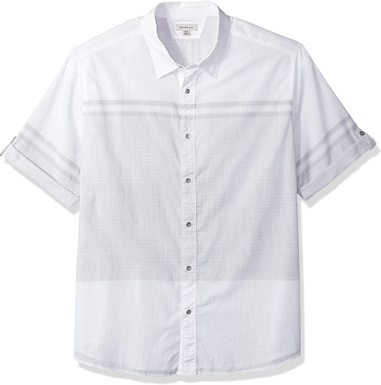 Calvin Klein Men's Big and Tall Short Sleeve Roll Tab Engineered Stripe Button Down Shirt