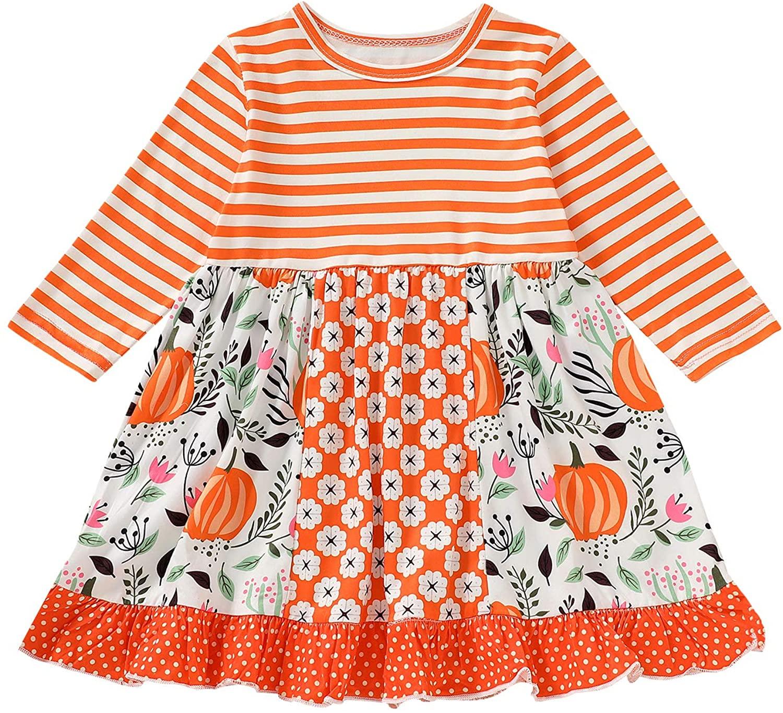 Infant Toddler Baby Girls Halloween Stripe Ruffled Dress Pumpkin Floral Printed Long Sleeve Cotton Skirt