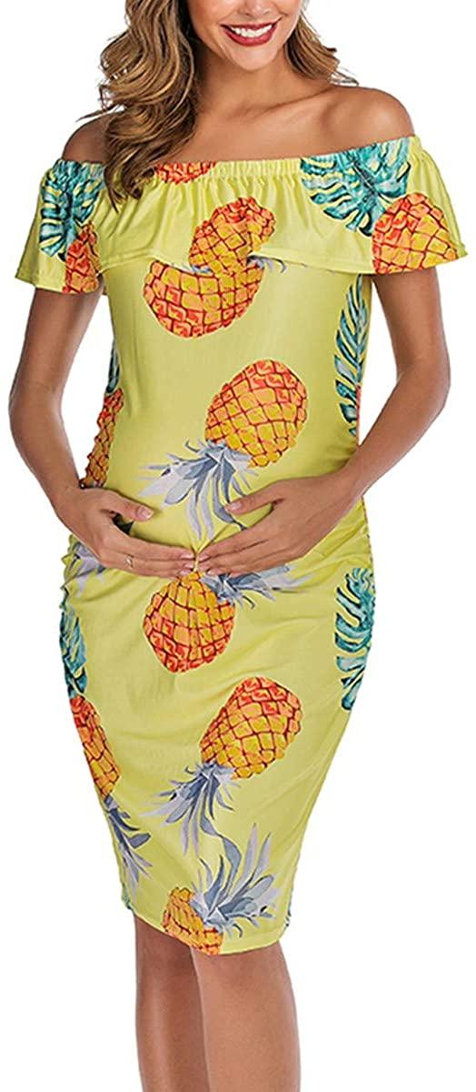 DDSOL Women's Maternity Dress Floral Print Ruffle Off Shoulder Pregnant Dress