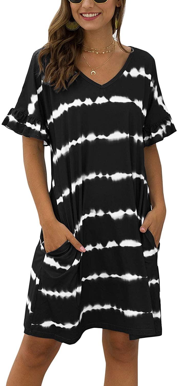Flygo Women's Striped V-Neck Short Sleeve Swing T-Shirt Dress Loose Casual Sleepwear Nightgown