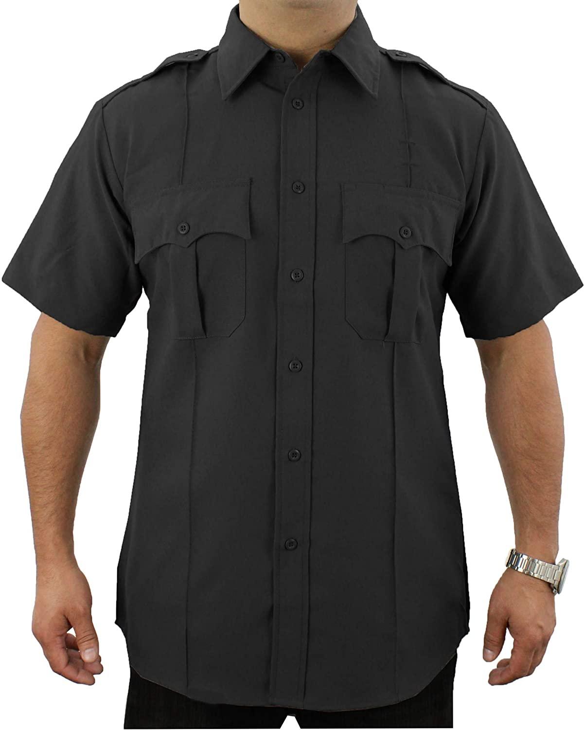 First Class 100% Polyester Short Sleeve Men's Uniform Shirt (Black) (4XL)