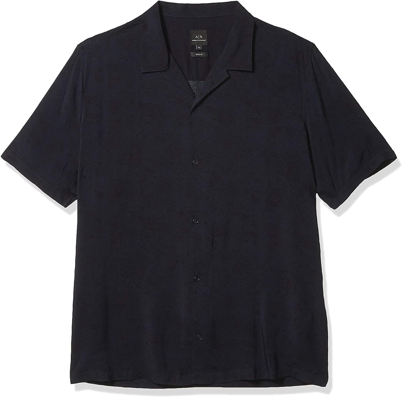 AX Armani Exchange Men's Paisley Short Sleeve Button Down Shirt