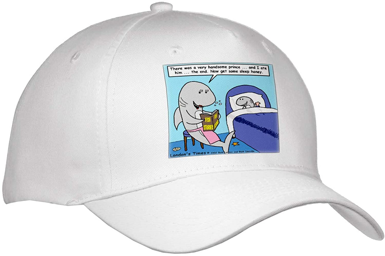 3dRose Rich Diesslins Fish Fishing Deep Beneath Cartoons - Shark Bedtime Stories - Youth Baseball Cap (Cap_2395_2)
