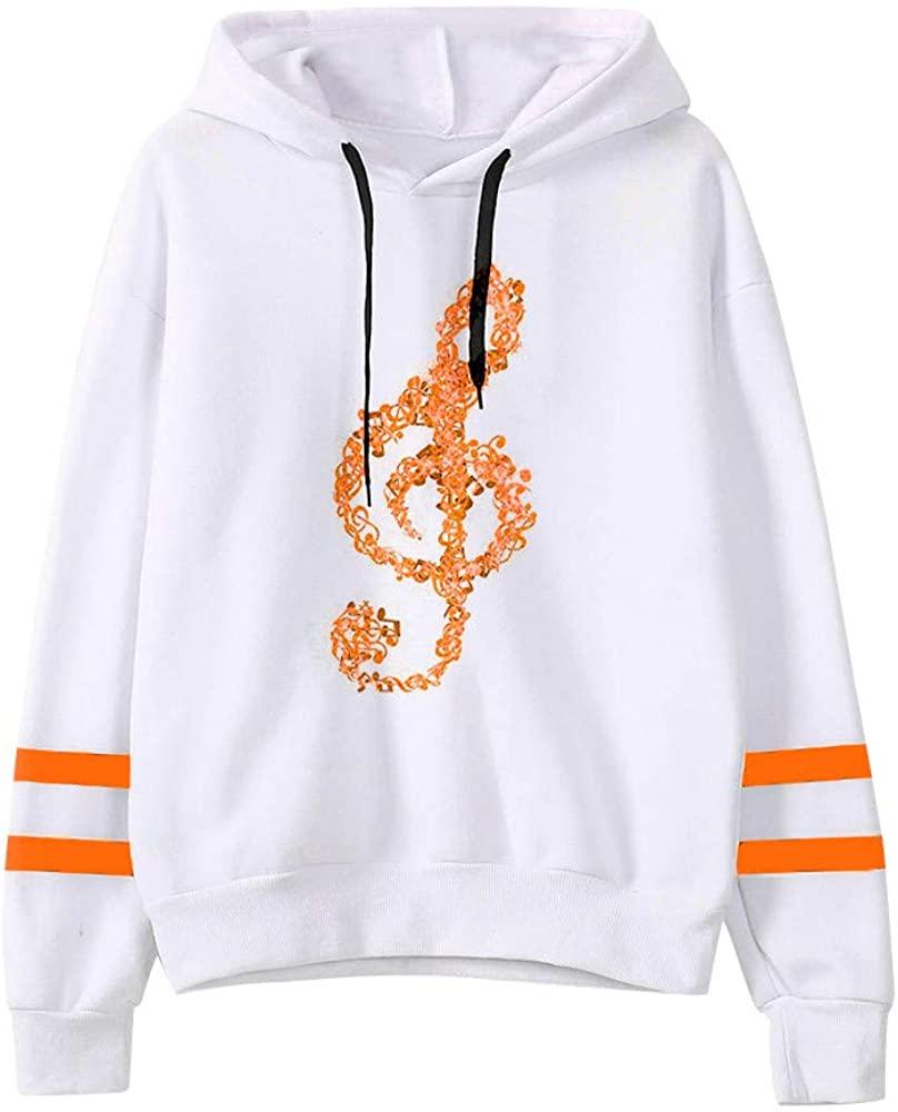 STORTO Womens Musical Notes Print Hoodie Sweatshirt Casual Long Sleeve Pullover Tops