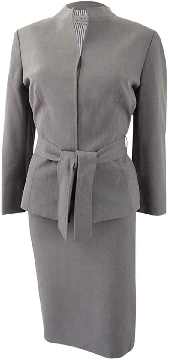 Tahari by Arthur S. Levine Womens Petite Size Heather Grey Skirt Suit