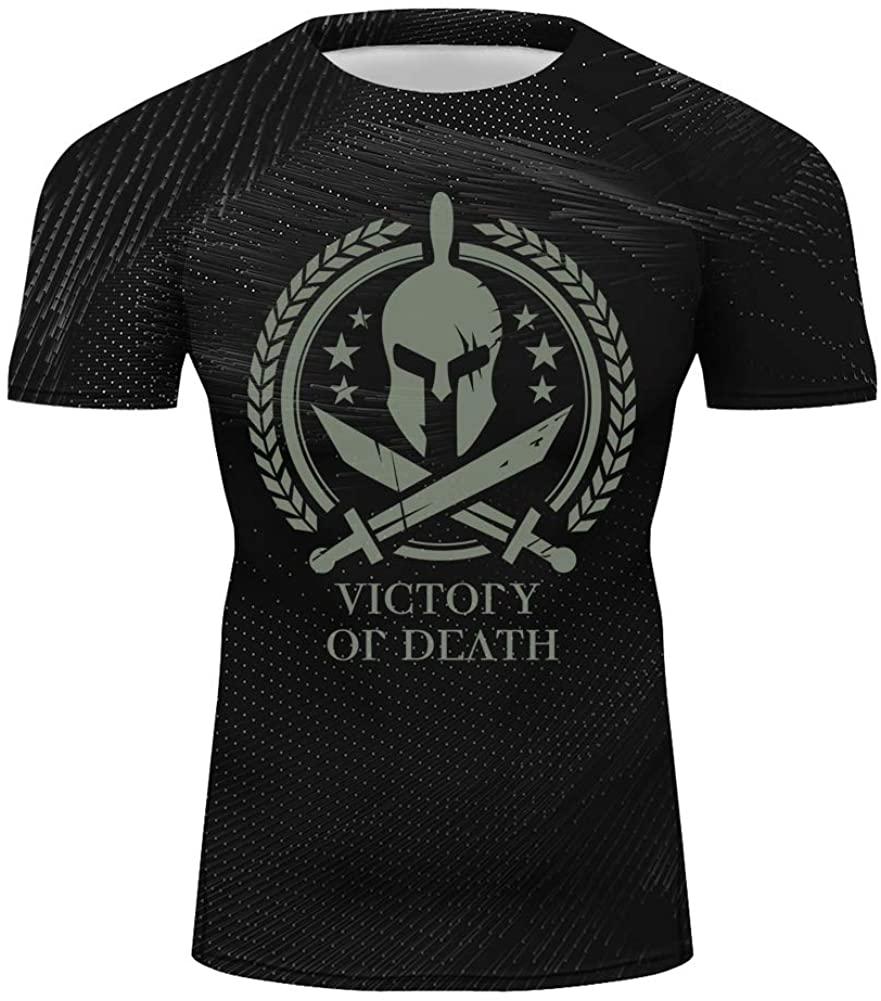 O2TEE Men's Spartan Warrior Casual Short Sleeve Training Tee Shirts S-XXL