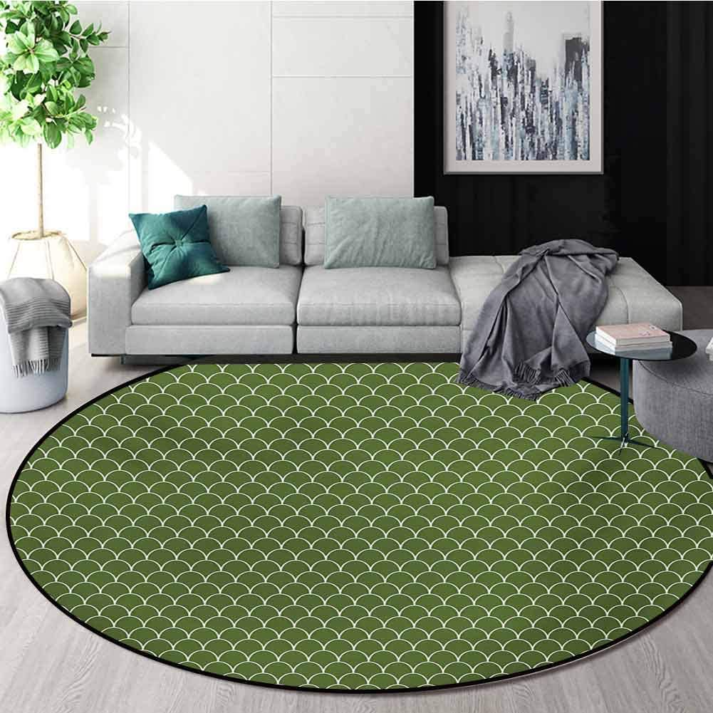 RUGSMAT Green Rug Round Home Decor Area Rugs,Vivid Forest Natural Colored Geometric Wave Like Round Edged Shaped Image Non-Skid Bath Mat Living Room/Bedroom Carpet,Diameter-55 Inch