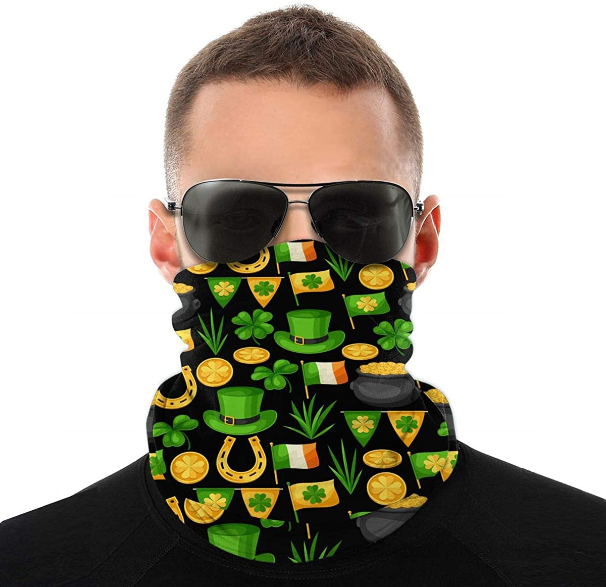 Flag-Ireland St. Patrick'S Day Novelty Neck Gaiter Unisex Adult Windproof Mask Dust Sports Face Mask Half Balaclava Weather Bandana Women Men Outdoors Festivals