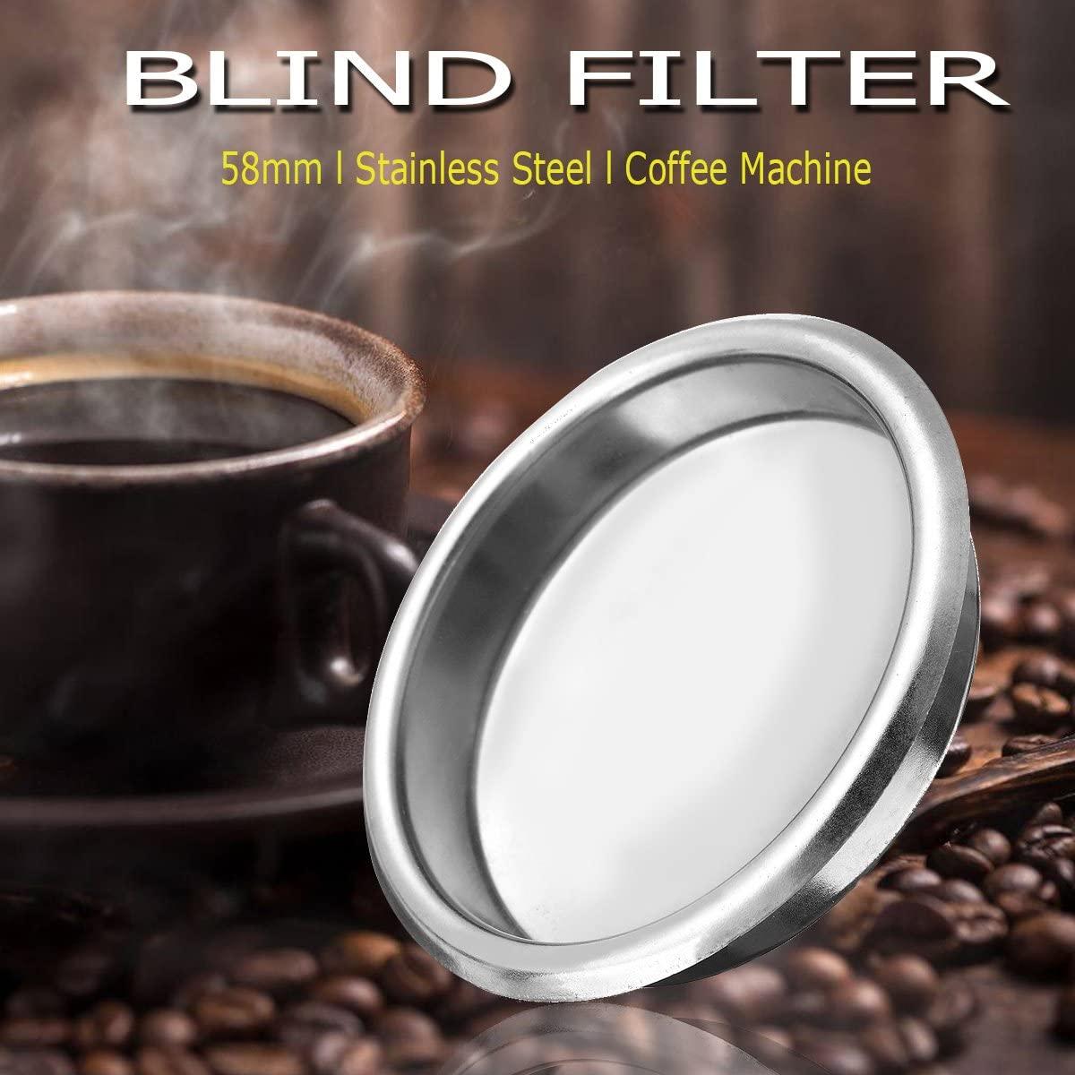HAPYLY 58mm Metal Blind Filter for Espresso Coffee Machine Maker Back Flush Insert Basket