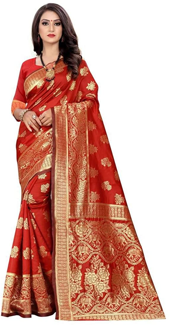Women's Banarasi Red Woven Cotton Silk Saree with Blouse Indian Ethnic Dresses