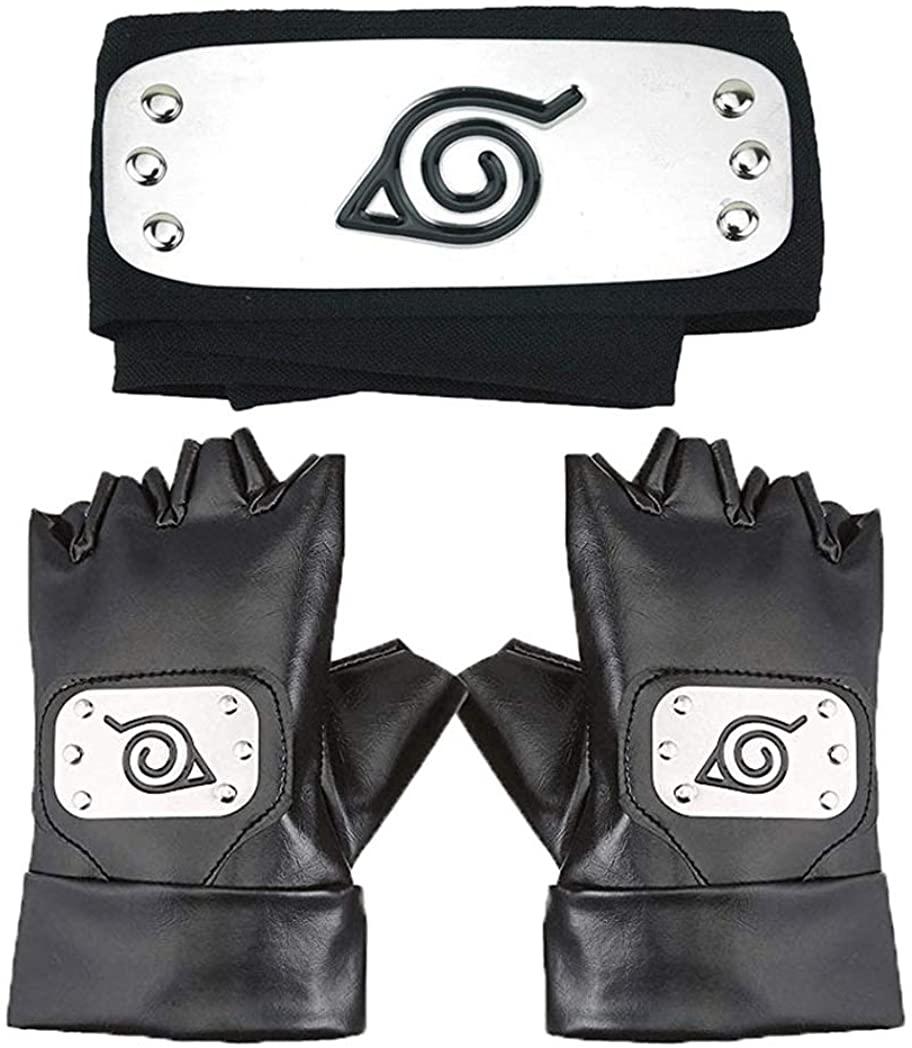 Master Online Naruto Headband, Leaf Village Headband and Cosplay Gloves Hatake Kakashi Ninja Cosplay Accessories(Black) …