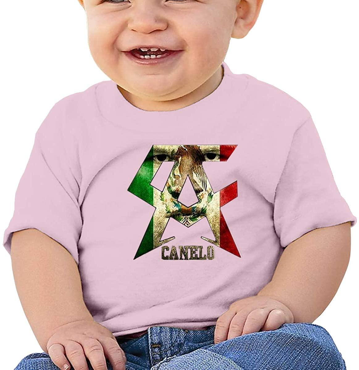 6-24 Months Boy and Girl Baby Short Sleeve T-Shirt Canelo Alvarez Elegant and Simple Design Pink