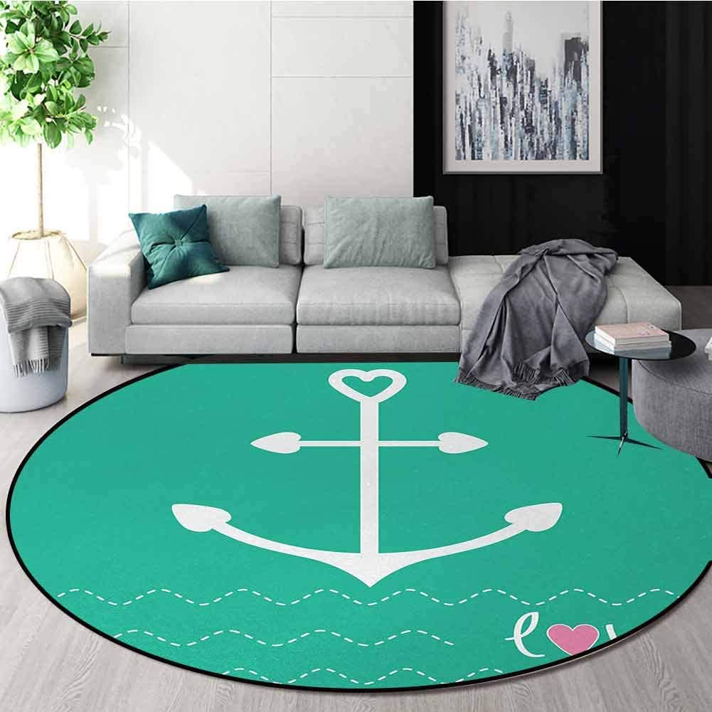 Anchor Non-Slip Area Rug Pad Round,Anchor Heart Shapes And Wavy Lines On The Bottom Sailor Love Valentines Day Protect Floors While Securing Rug Making Vacuuming Diameter-39 Inch,Green Pink White