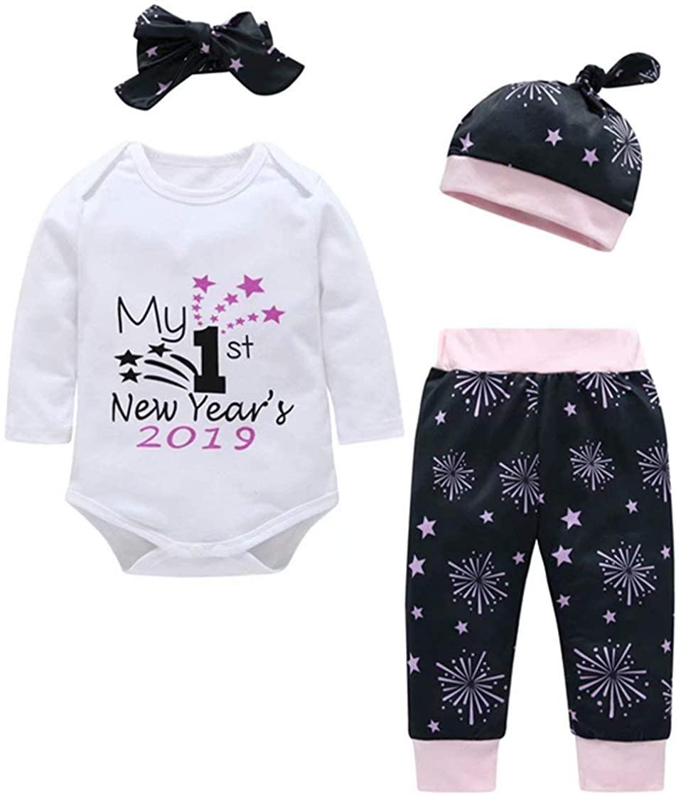 My 1st New Year's 2019 Outfits Newborn Baby Long Sleeve Romper+Firework Pants+Cap+Headband 4Pcs Set