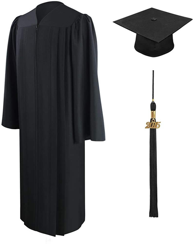 Matte Graduation Gown Cap & Tassel with 2016 or 2017 Year Charm