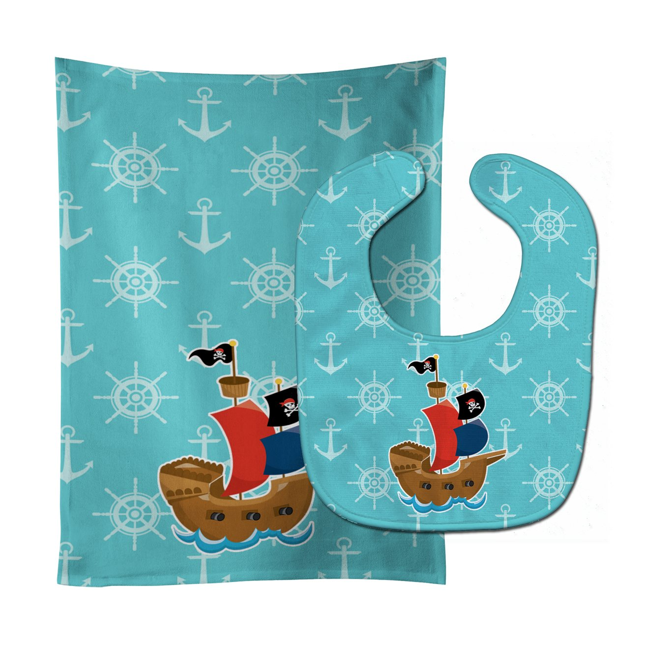 Caroline's Treasures BB8968STBU Pirate Ship Blue Baby Bib & Burp Cloth, 11 x 18