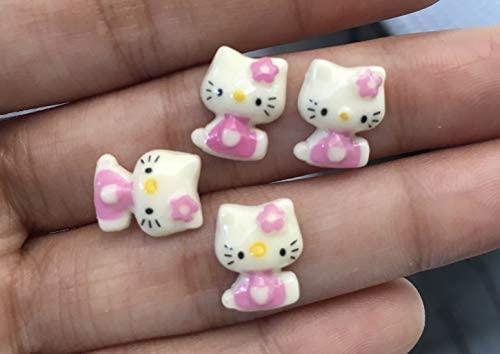 30pcs 13x10mm Hello Kitty Cat Bow Flat Back Cabochons Kitten Meow Animals Decoden Flat Back Button F1703