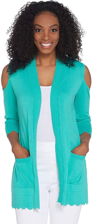 Isaac Mizrahi Womens Cold Shoulder Cardigan 2X Scallop Hem Turquoise A308022