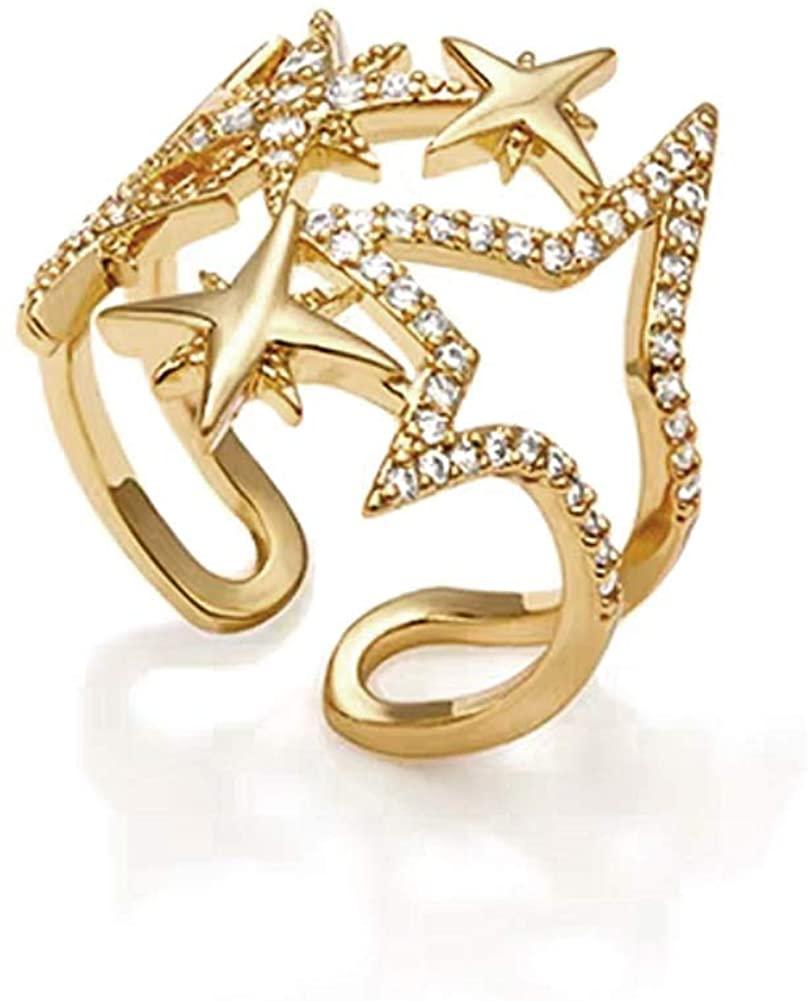 JA.S.JR Star Rings Gold Rings for Women Cubic Zirconia Statement Rings Adjustable Open Rings