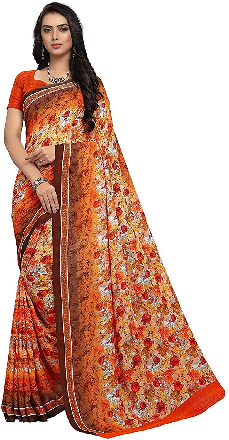 Indian Decor & Attire Georgette with Blouse Piece Saree (PC1059_ Multicoloured_ One Size)