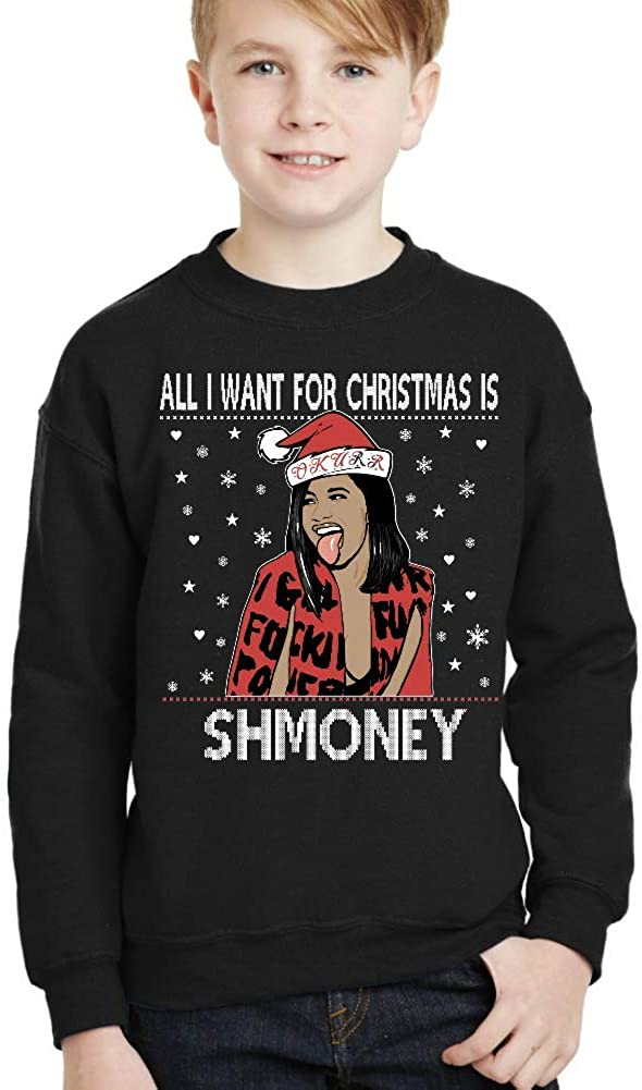 Couple apparel All i Want for Christmas is Shmoney Youth Christmas Sweater Unisex Sweatshirt for Kids