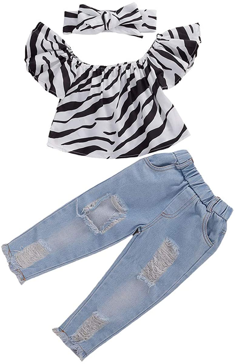 3Pcs Toddler Baby Girls Summer Clothes Leopard Print Off The Shoulder Crop Top+Ripped Jeans Pants Outfit