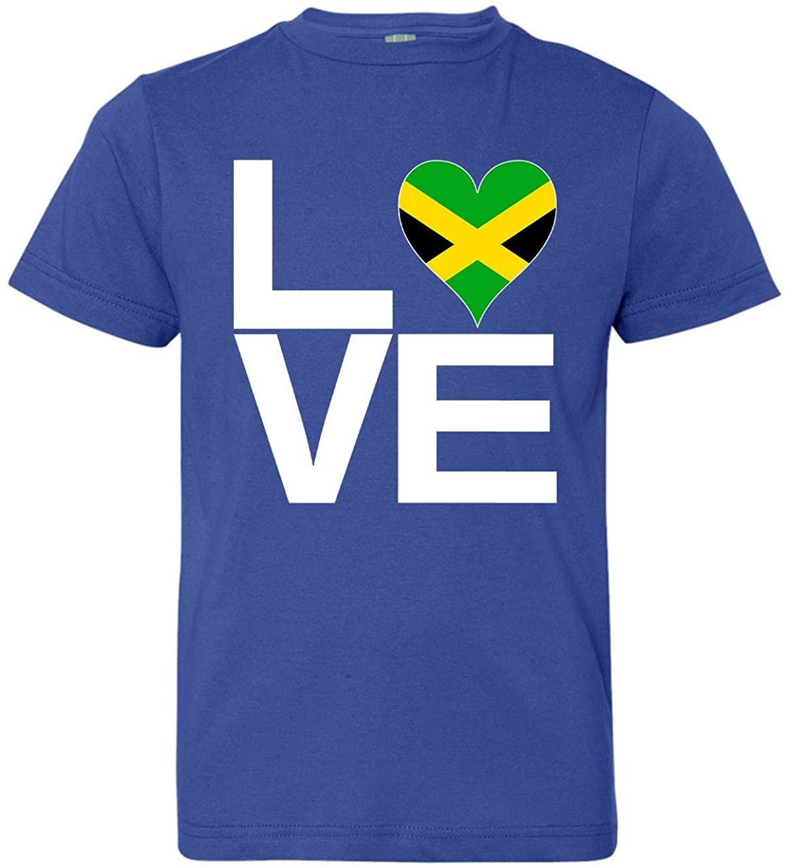 Tenacitee Girls Youth Love Block Jamaica Heart T-Shirt