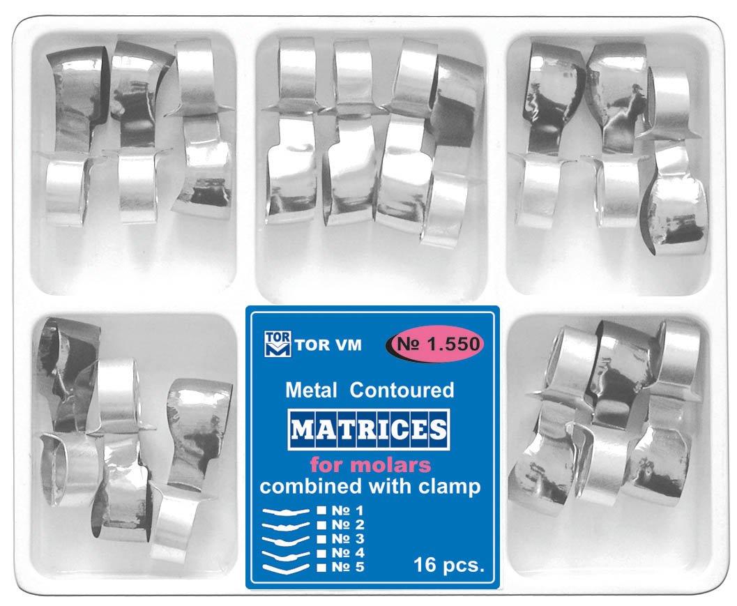 Zubastick Dental Metal Contoured Matrices Matrix with Combined Clamp, 16 pcs.(1.550)