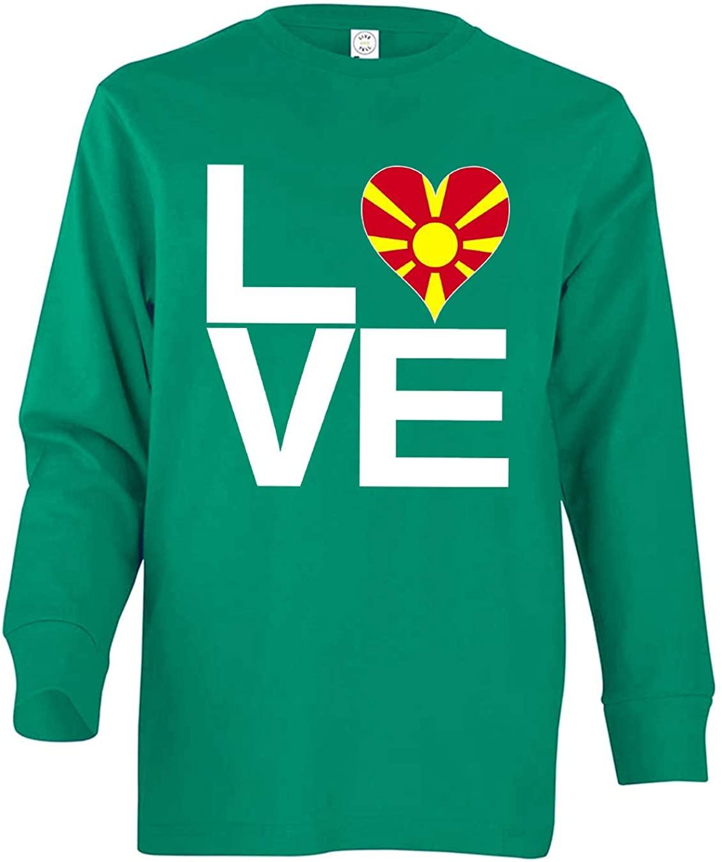Tenacitee Boy's Youth Love Block Macedonia Heart Long Sleeve