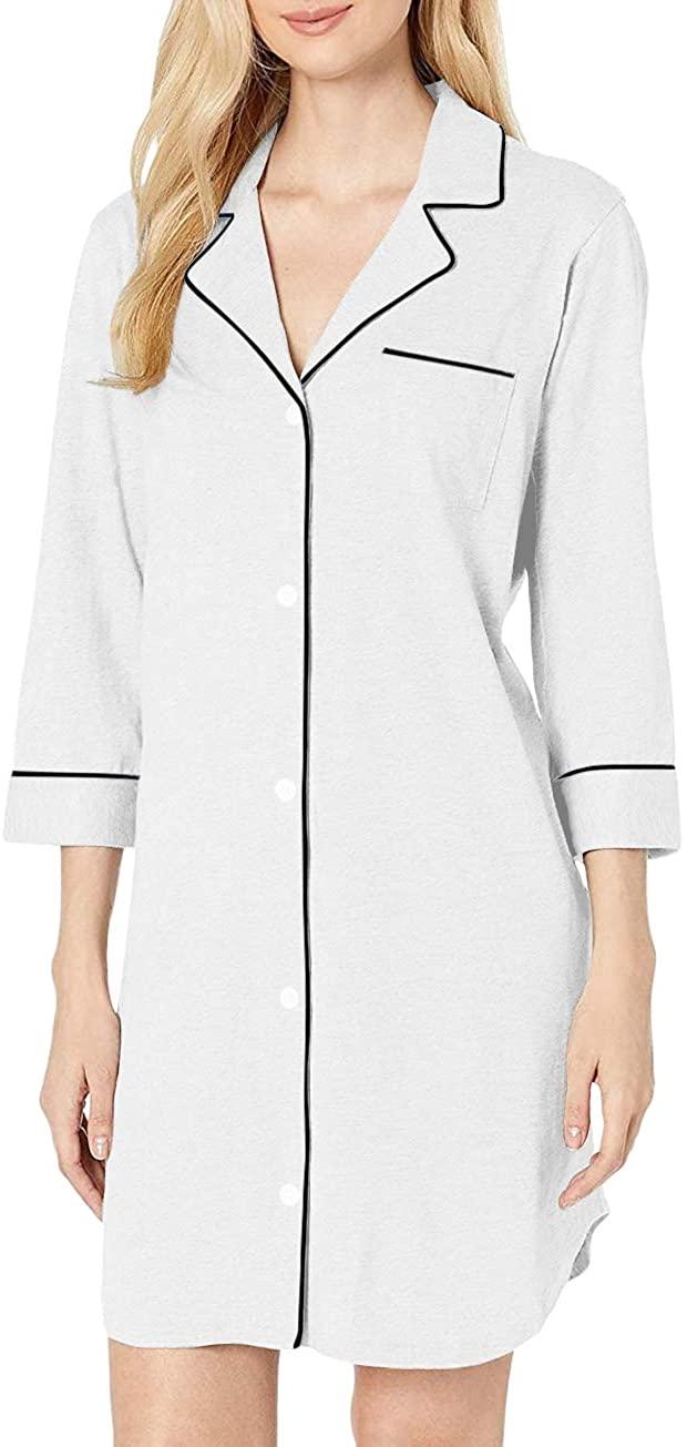 H HIAMIGOS Womens Nightgown Button Down Nightshirt 3/4 Sleeve Pajama Top Boyfriend Sleepshirt Nightdress Sleepwear Lapel