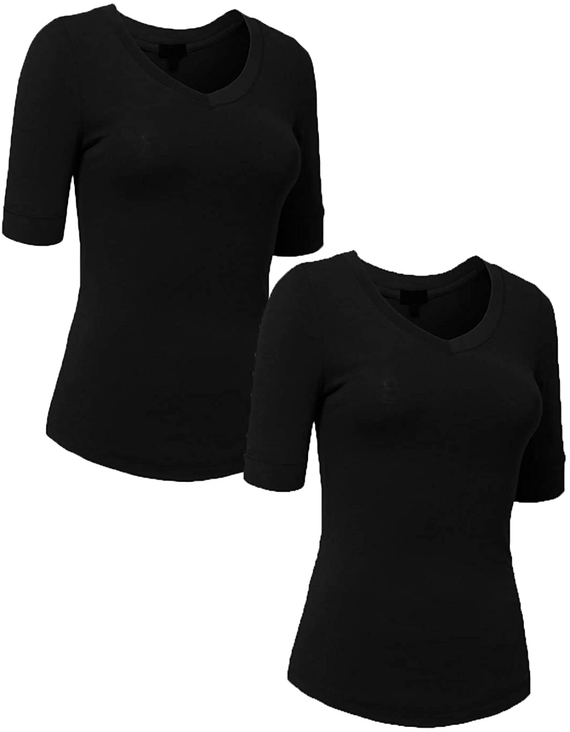 NE PEOPLE Women's Basic 3/4 Elbow Half Length Sleeve V-Neck line T-Shirts (2 Set)