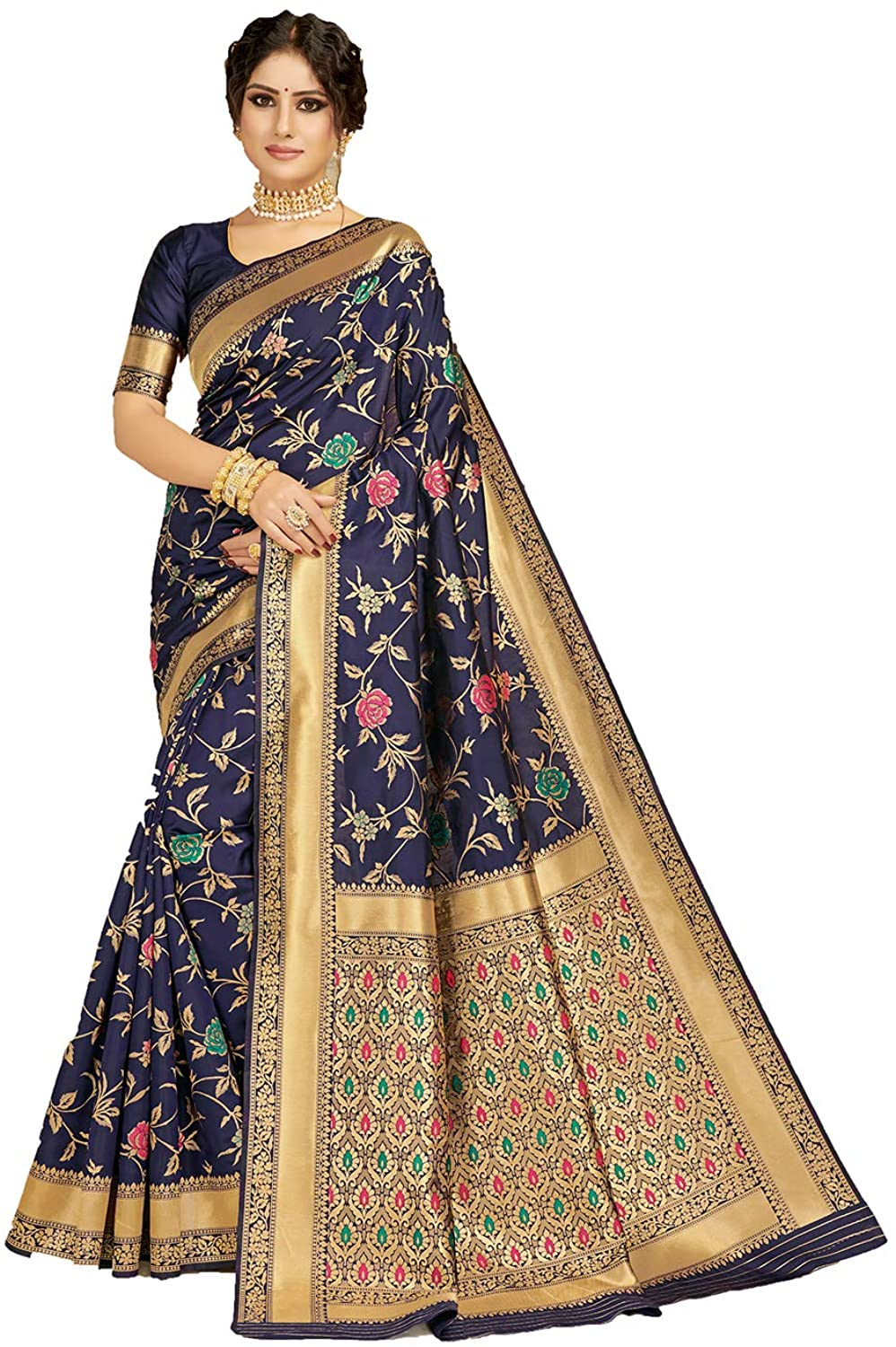 Saree for Women Bollywood Wedding Designer Nave Blue Sari with Unstitched Blouse.