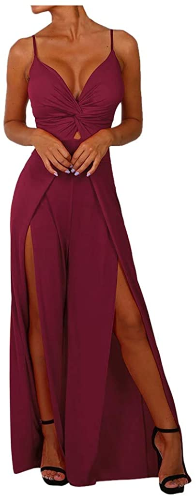 Simayixx Jumpsuit for Women Summer Sleeveless Strap Loose Long Playsuits Elegant Wrapped Girdle Rompers