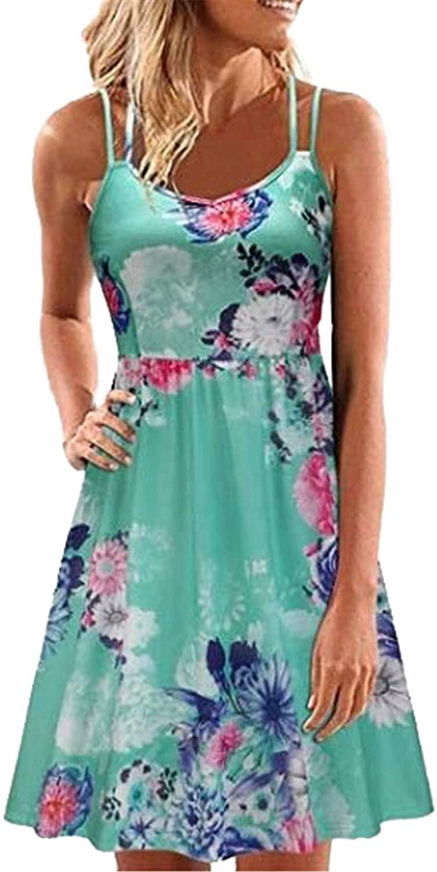 Soluo Women's Sexy Floral Printed Dresses Spaghetti Strap V Neck Sleeveless Casual Mini Dress