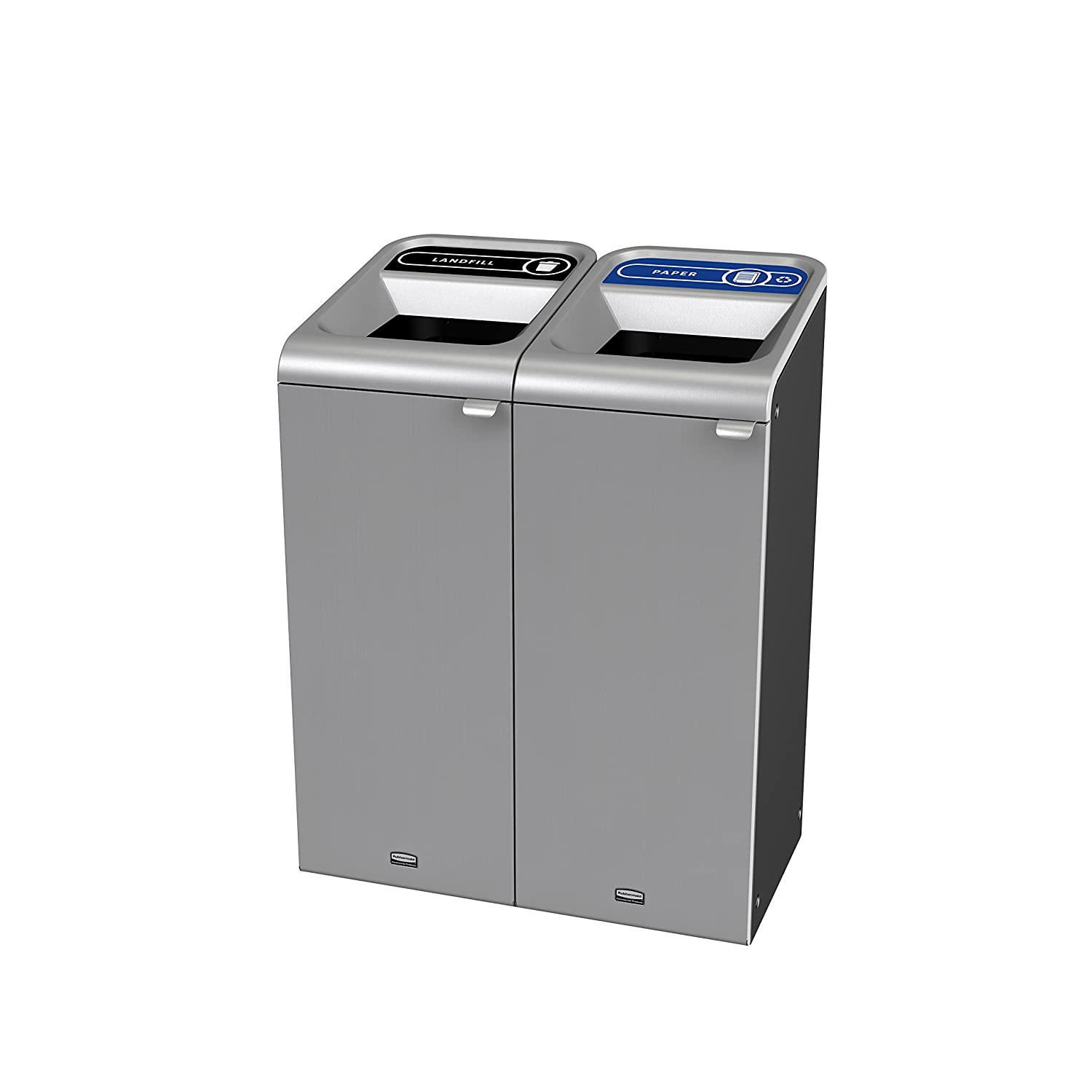 Rubbermaid Commercial Products 1961782 Configure 2 Stream Landfill/Paper Waste Receptacles, 15 gal, Stainless Steel (Pack of 2)