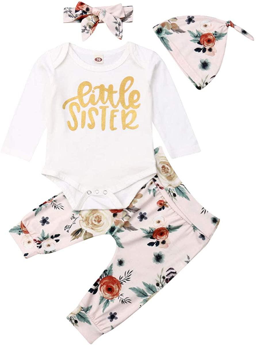 4 Pcs Newborn Baby Girls Pants Set Infant Letter Romper Pants Headband Hat Clothes Set