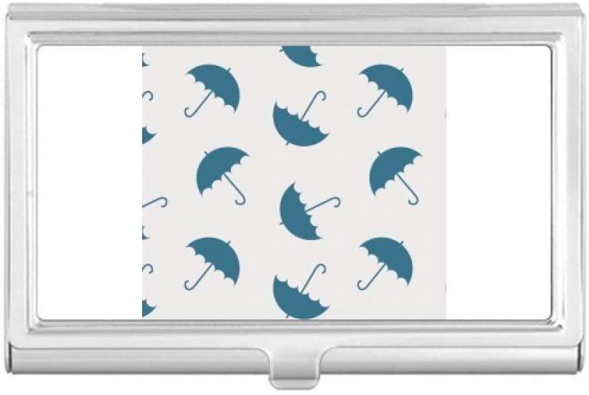 Blue Umbrella Weather Rain Cloud Business Card Holder Case Pocket Box Wallet