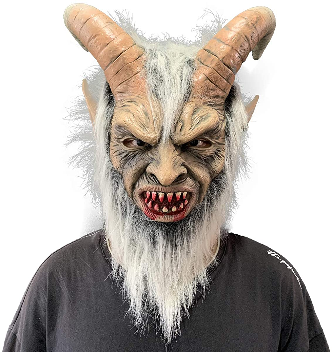 Lucifer Mask Scary Devil Krampus Adults Halloween Cosplay Costume Props Yellow