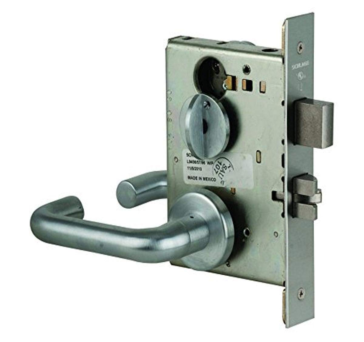 Schlage L9453P 03A 626 C123 Keyway Series L Grade 1 Mortise Lock, Entrance Function, C123 Keyway, 03A Design, Satin Chrome Finish