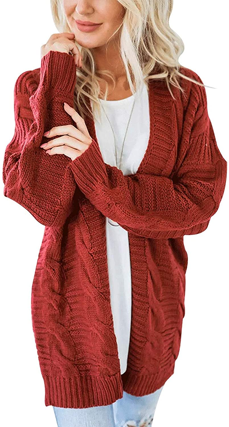 PUWEI Women's Loose Open Front Chunky Oversized Cable Knit Sweater Cardigan(Rust Red-L)