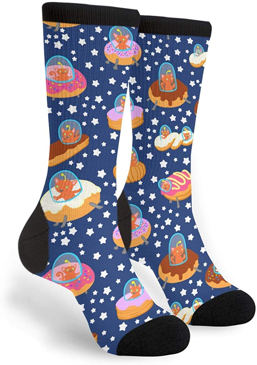 Fashion Travel Breathable Socks Space Cat Donut Ships Men & Women Running Casual Socks