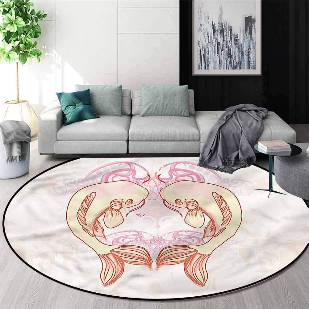 RUGSMAT Koi Fish Round Area Rug Reversible Floor Carpet,Love Heart Shape Sealife Design Non-Slip Fabric Round Rugs for Floor Mat Carpet Diameter-35