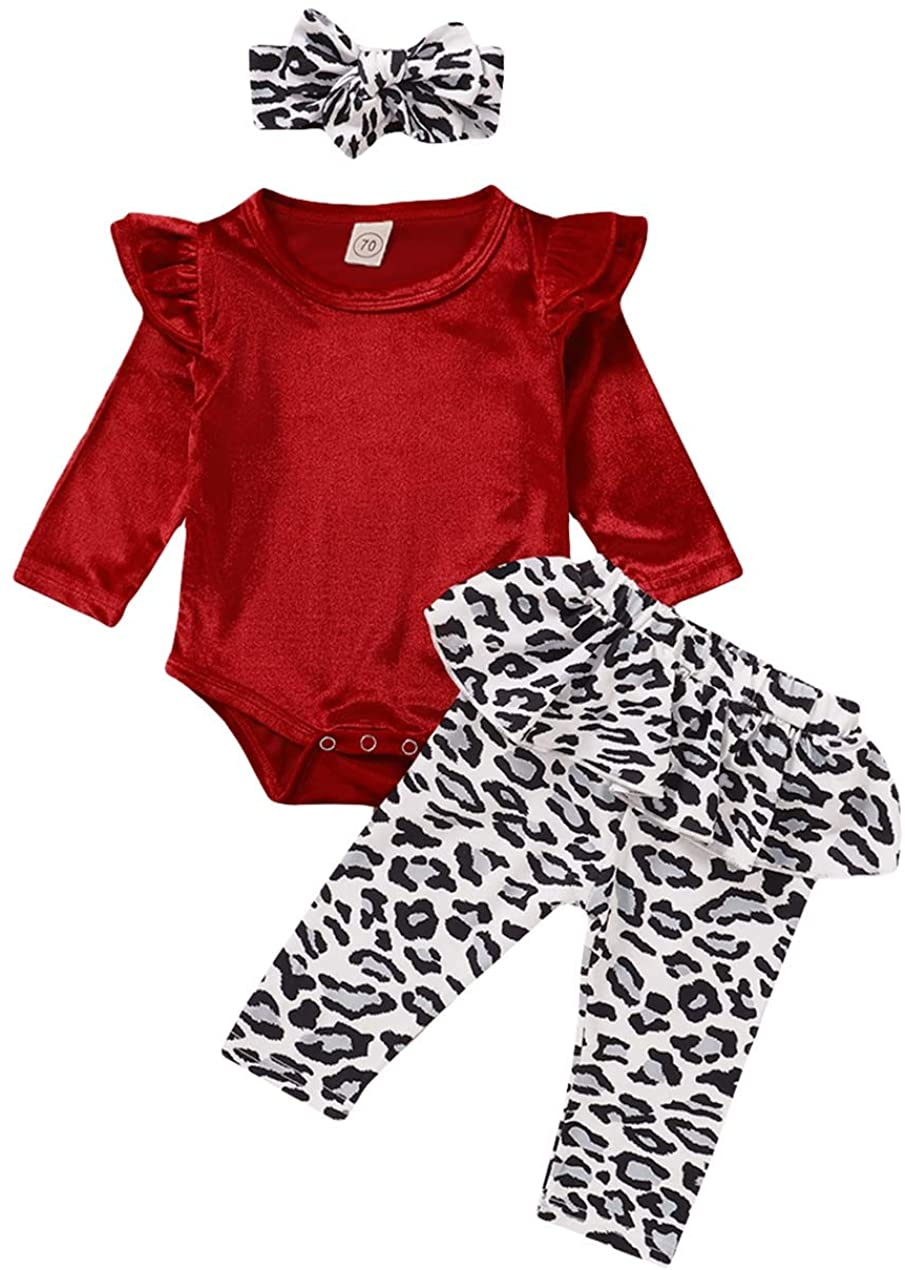 Newborn Baby Girl Clothes Set Ruffled Long Sleeve Bodysuit Tops Floral Harem Pants Headband Infant 3PCS Outfits