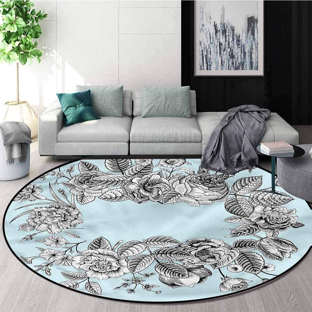 RUGSMAT Mint Round Area Rug,Modern Stylized Bridal Protect Floors While Securing Rug Making Vacuuming Diameter-31