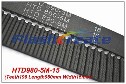 Fevas 5pcs HTD5M Belt 980 5M 15 Teeth=186 Length=980mm Width=15mm 5M Timing Belt Rubber Closed-Loop Belt 980-5M S5M Belt 5M Pulley