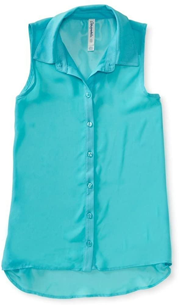 AEROPOSTALE Womens Sheer Solid Color Chiffon Woven Button Up Shirt