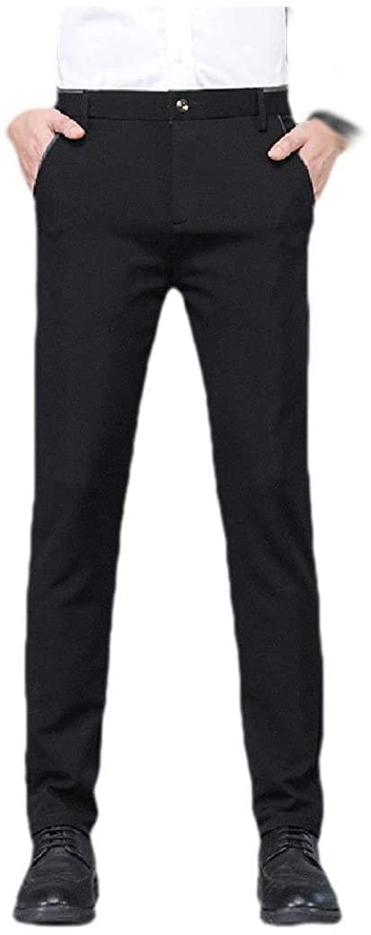 Doufine Men Pure Color Mid Waist Slim Middle Waist Business Plain Front Pant