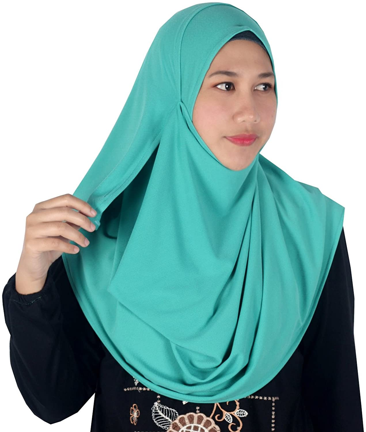 Womens Persian Green Moss Crepe Plain Double Loop Instant Hijab Scarf