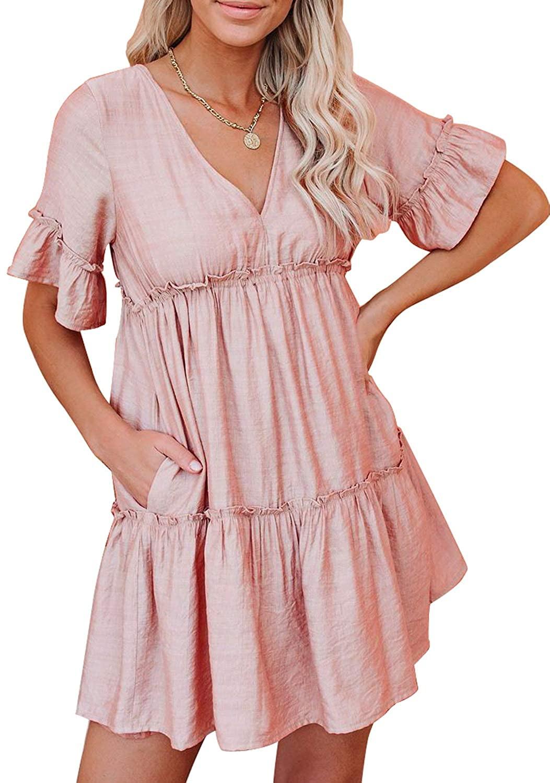 Chase Secret Women's Off Shoulder Button Down Short Sleeve Maxi Dress Casual Bandeau Solid Color Long Dress